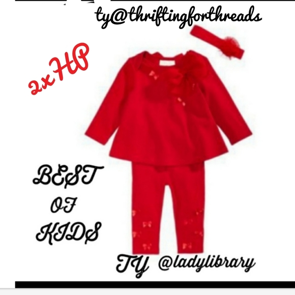 8/25 First Impressions Red outfit w/ bows 0-3mo